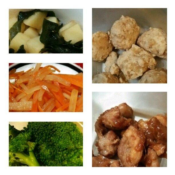 お弁当用作り置き。 じゃが芋とわかめの煮物、人参と大根の金平、茹でブロッコリー、キヌア入り鶏つくね、鶏の生姜焼き。