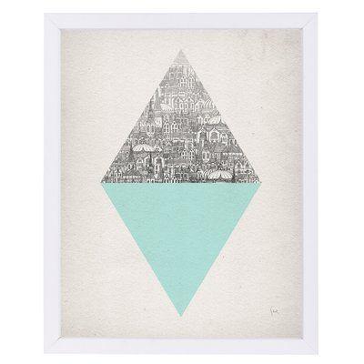 East Urban Home 'Diamond' Print Format: White Framed, Size: 15