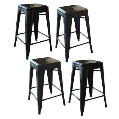 Amerihome Loft Style 24 In Stackable Metal Bar Stool In Black