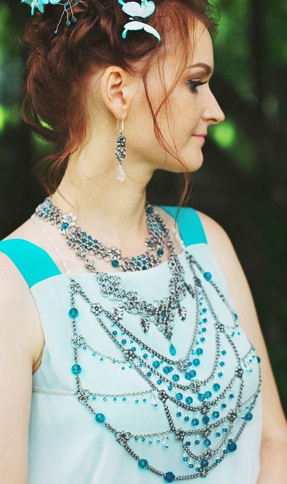 Wedding massive necklace bridal bodychain crystal от TerrasChains