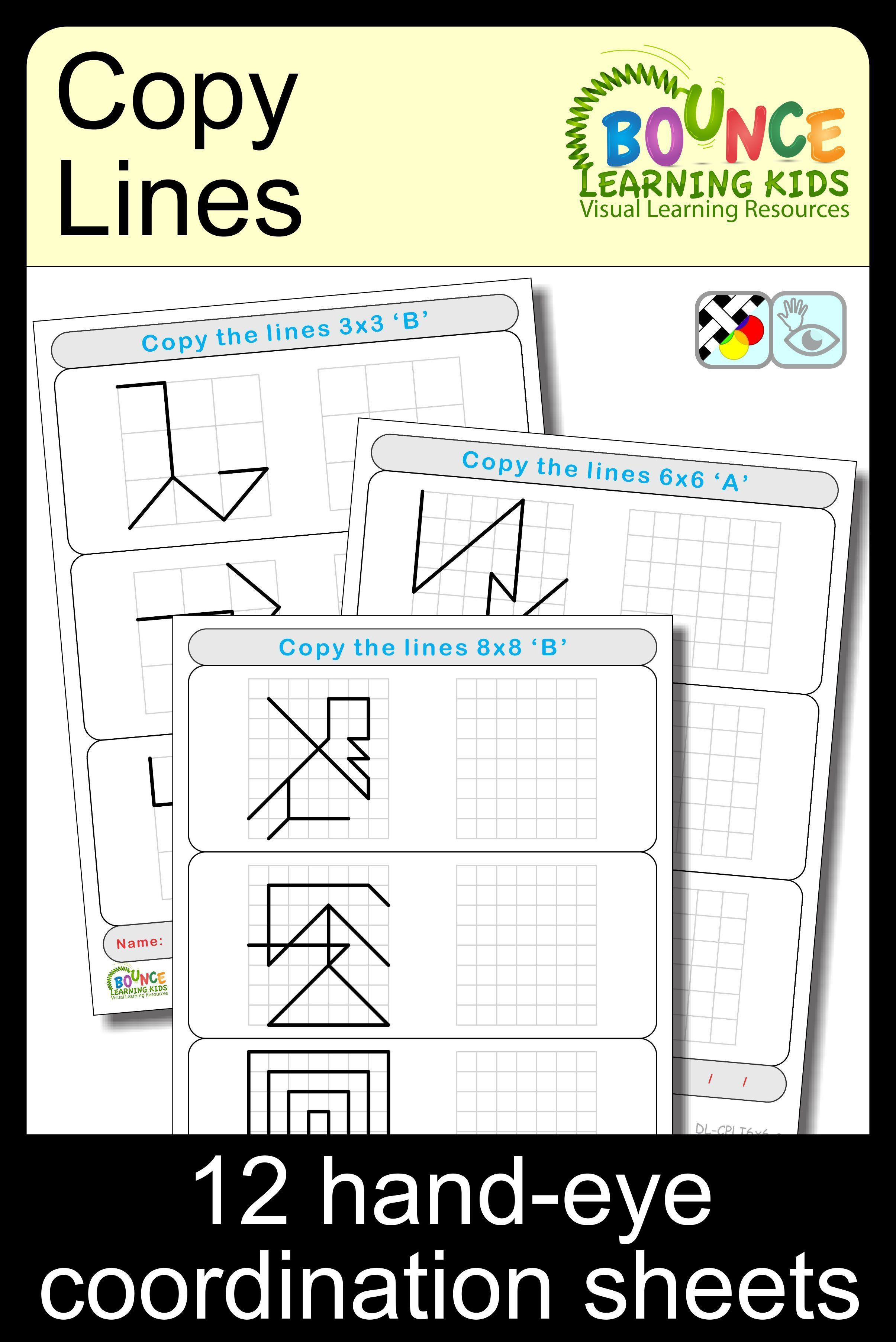 Copy Lines 12 Hand Eye Coordination Sheets