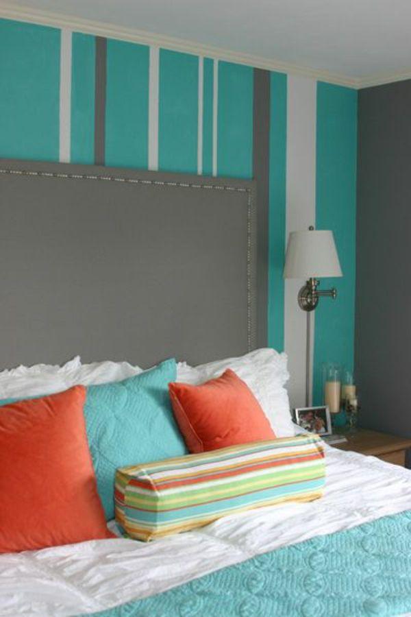 Wohnzimmer farblich gestalten türkis  30 frische Farbideen für Wandfarbe in Türkis … | Pinteres…