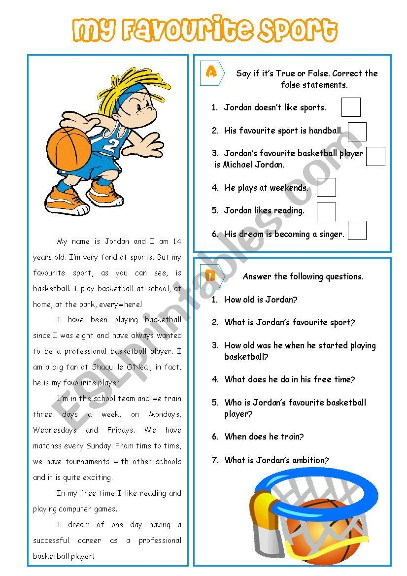 A Reading Comprehension Activity About Sports T F And Answer The Questions Have Kindergarten Worksheets Reading Comprehension Activities Kids Math Worksheets Reading comprehension worksheets sports