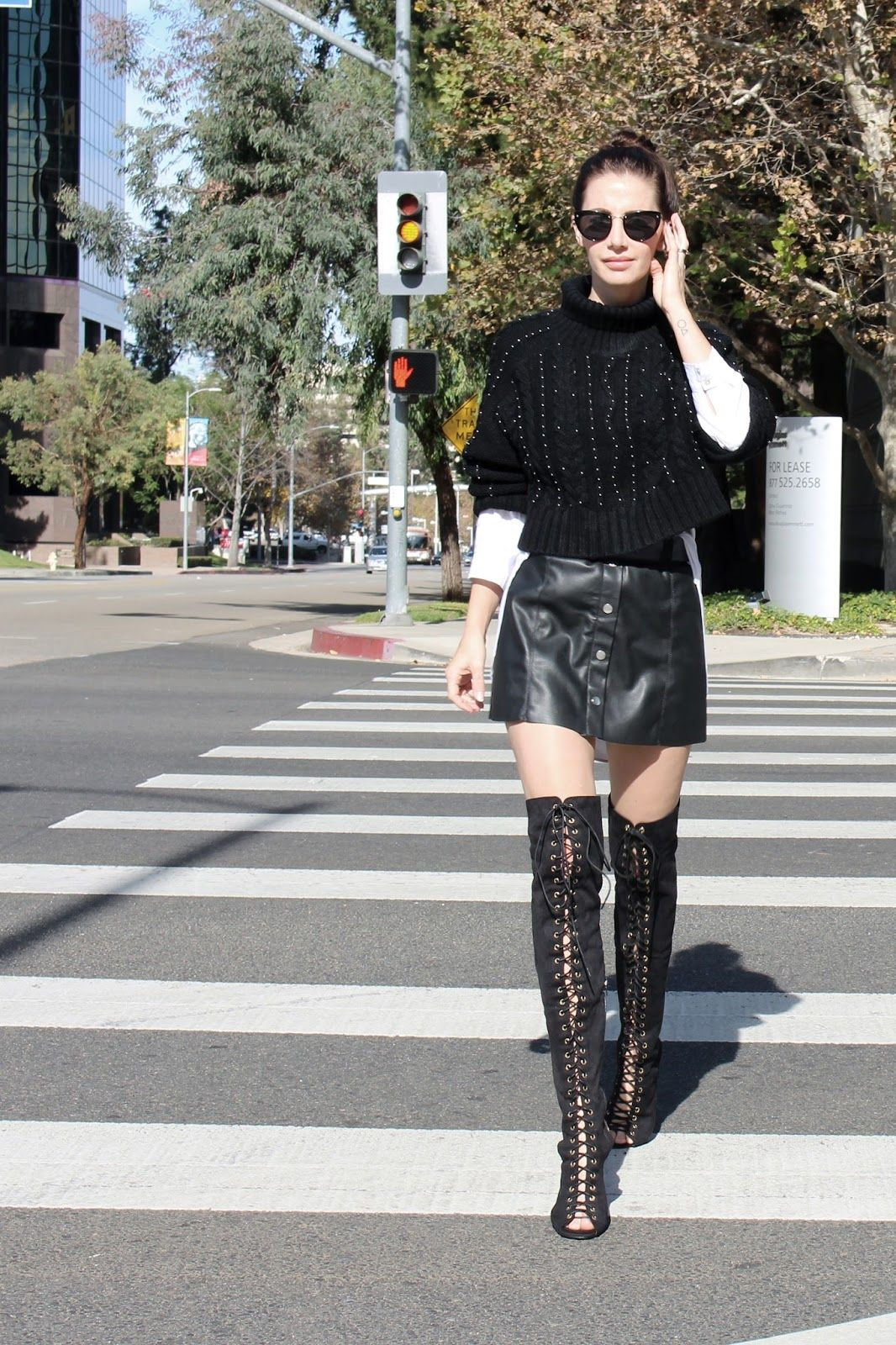 6d8dadbfc19 Button up skirt. Over knee boots. Lace up boots. Turtleneck sweater. All  black. Layering outfit. Shirt dress