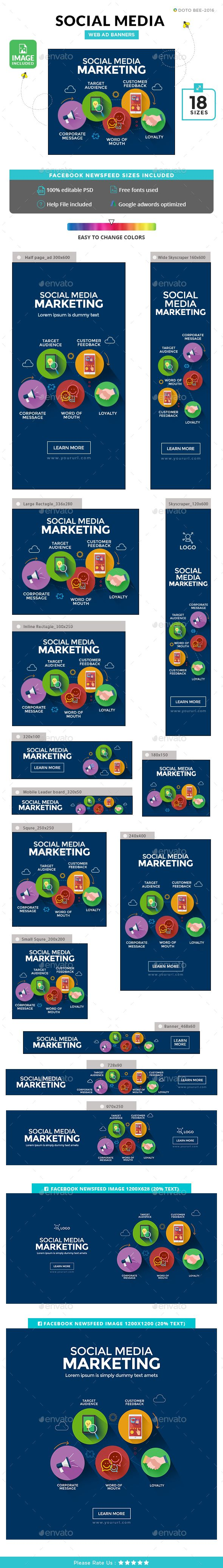 Social Media Marketing Banners Template PSD | Diseño gráfico | Pinterest