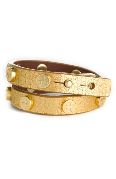 Free Shipping And Returns On Tory Burch Double Wrap Logo Bracelet At Nordstrom Metallic Leather Offers Rous Texture To A Slender