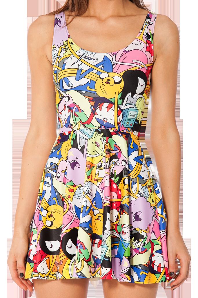 9df32d2fdb480 Adventure Time Bro Ball Reversible Skater Dress | Black milk ...