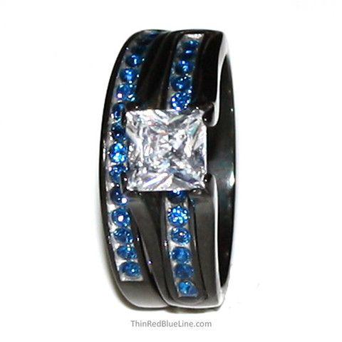 Thin Blue Line Black IP Stainless Steel 6mm Princess Cut CZ Wedding Ring