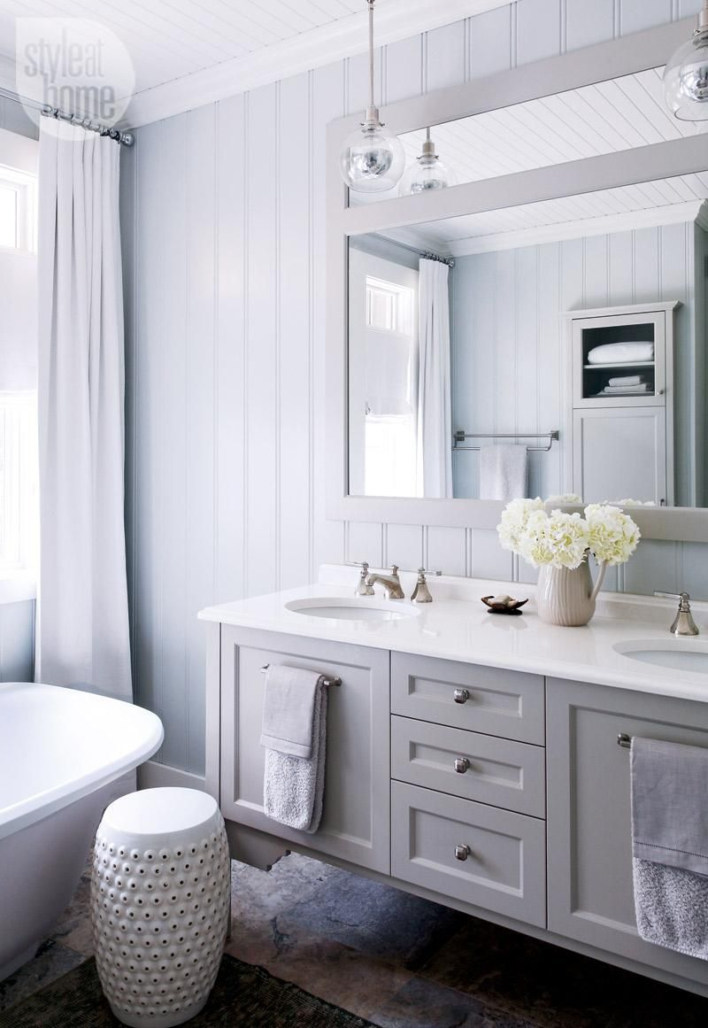 spectacular bathroom vanities brampton. Grey cabinets Bathroom design  A sophisticated cottage ensuite with a soft shade of grey paint tailored drapery and glass pendant lights PHOTO Robin House tour Neutral pale retreat Glass pendants