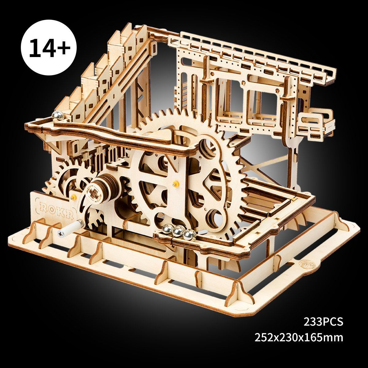 ROBOTIME 3D Puzzle Engineering Toys STEM Learning Kits Wooden Laser-Cut Model Kit Best Mechanical Gears Toy Gifts for Adults /& Teens