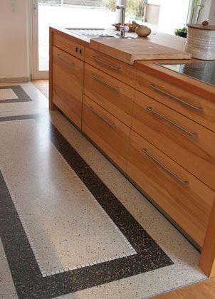 Terrazzo-Boden in der Küche, pflegeleicht und sehr dekorativ ...