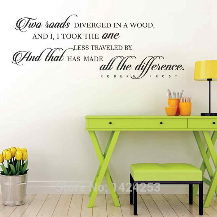 battoo large wall decals - two roads diverged - robert frost vinyl