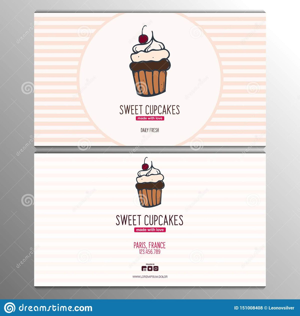 Cupcake Or Cake Business Card Template For Bakery Or Pastry Throughout Cake Business Ca Free Business Card Templates Card Templates Free Business Card Template