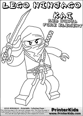 lego ninjago kai with sword coloring page - Ninjago Pictures To Color