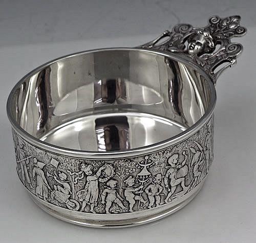 antique sterling silver baby porringer, dated 1904