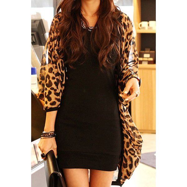 Women's Stylish Leopard Print 3/4 Sleeve Chiffon Cardigan ...