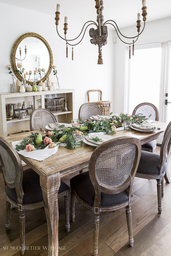 Photo of Pears and roses adorn this beautiful French vintage inspired …