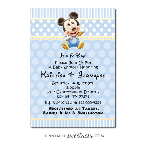Mickey mouse baby shower invitation custom personalized printable mickey mouse baby shower invitation custom personalized printable baby boy printable sweetness filmwisefo