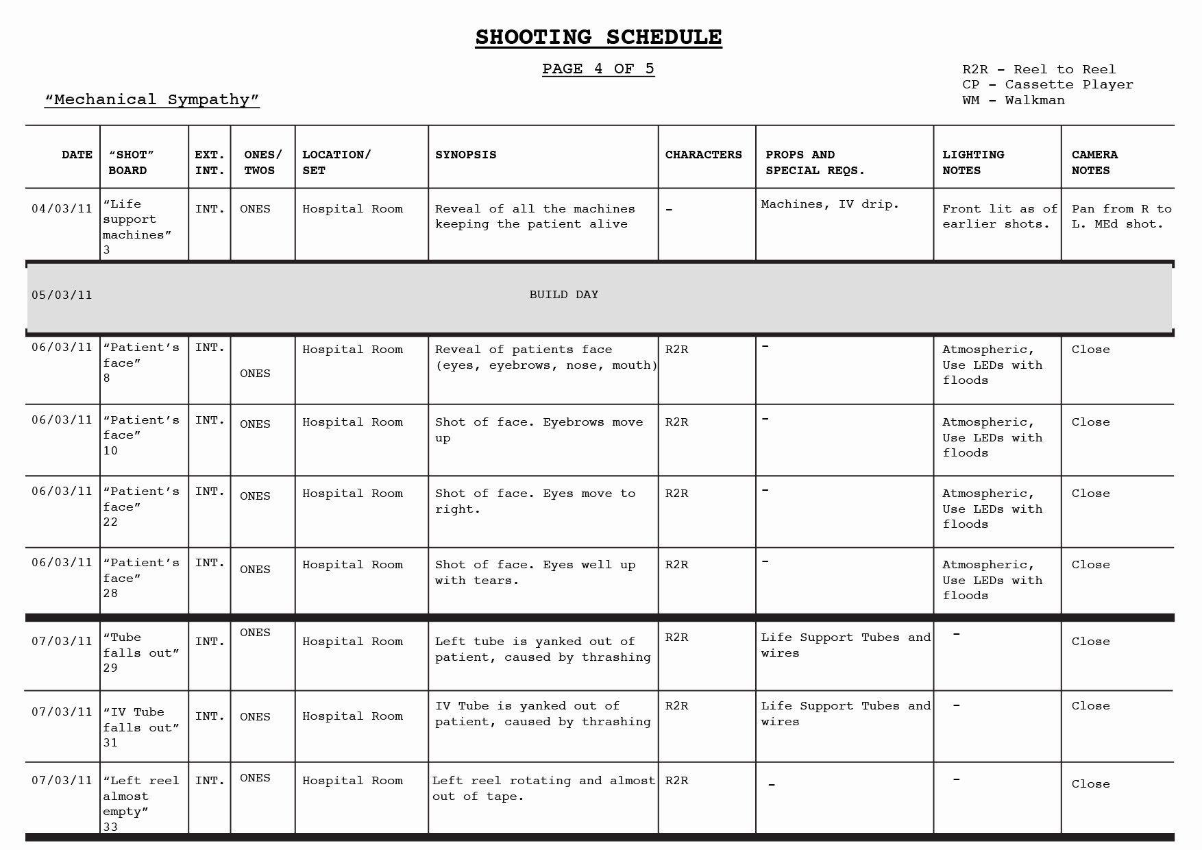 New Film Shooting Schedule Template In 2020 Schedule Templates