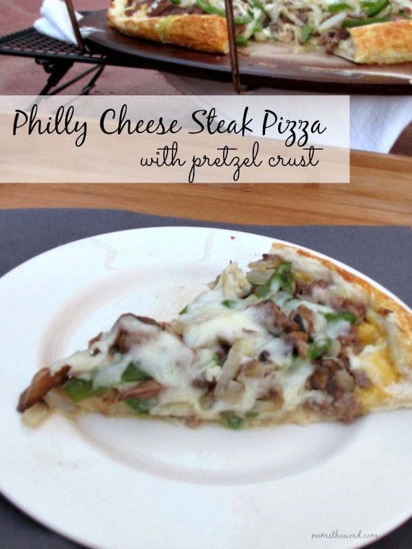 Philly Cheese Steak Pizza with Pretzel Crust  - a delicious homemade pretzel pizza crust topped with all the yumminess of a Philly Cheese Steak!