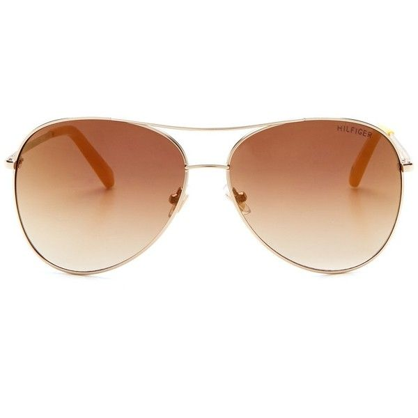 Tommy Hilfiger Women's Aviator Sunglasses ($25) ❤ liked on Polyvore featuring accessories, eyewear, sunglasses, glasses, tommy hilfiger, tommy hilfiger glasses, lens glasses, aviator sunglasses и uv protection glasses