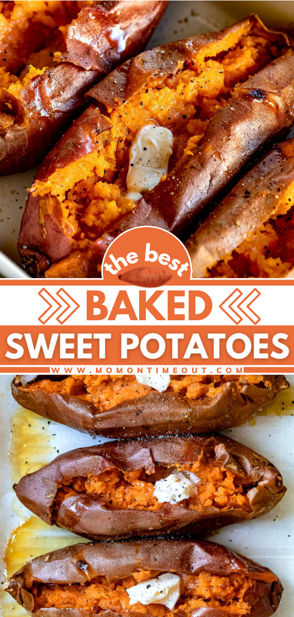 Easy Baked Sweet Potatoes How To Bake Sweet Potatoes Sweet Potato Recipes Baked Best Baked Sweet Potato Sweet Potato Dishes