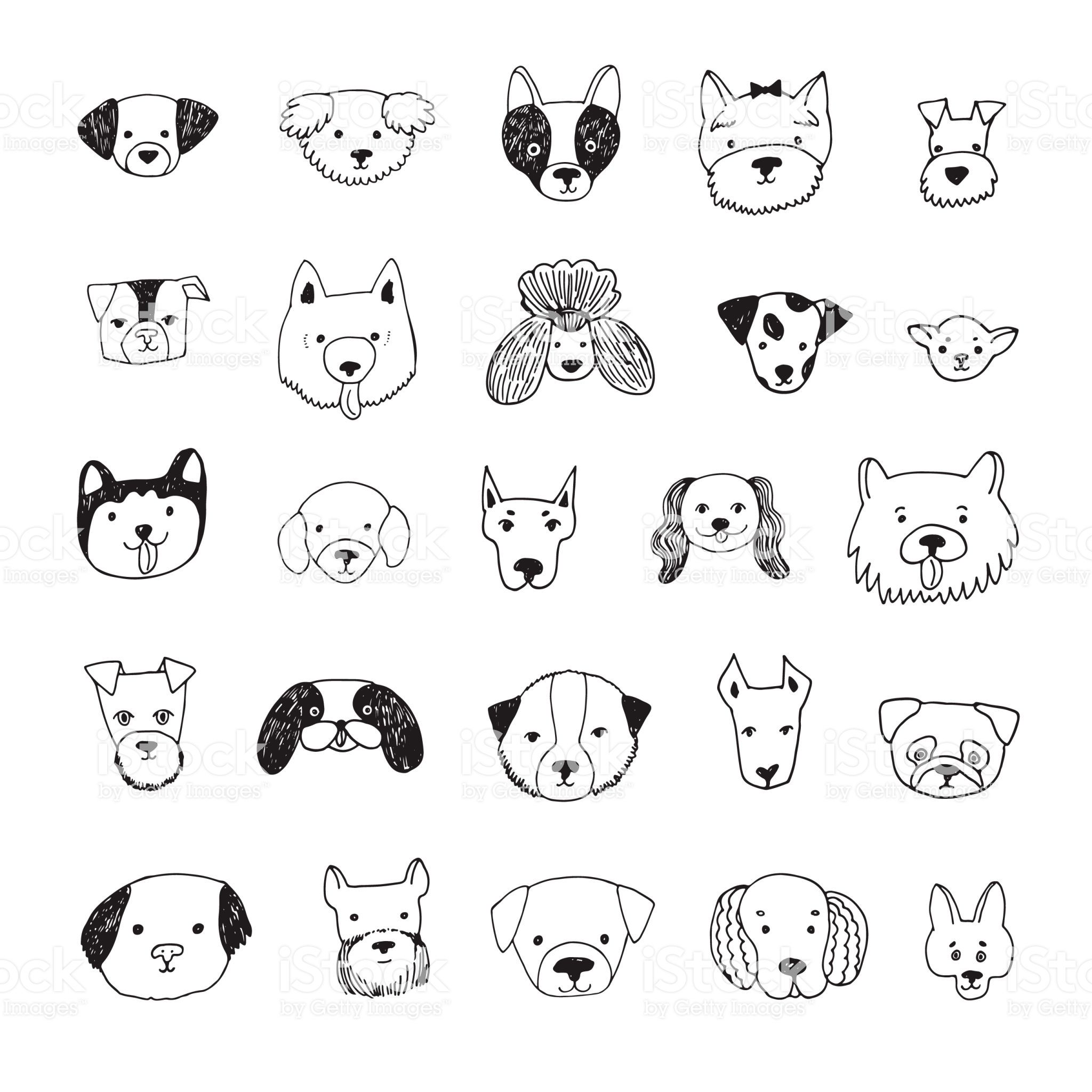 Dog Face Cartoon Vector Doodle Hand Drawn Illustrations Set Dog Drawing Simple Cartoon Dog Drawing Dog Face Drawing