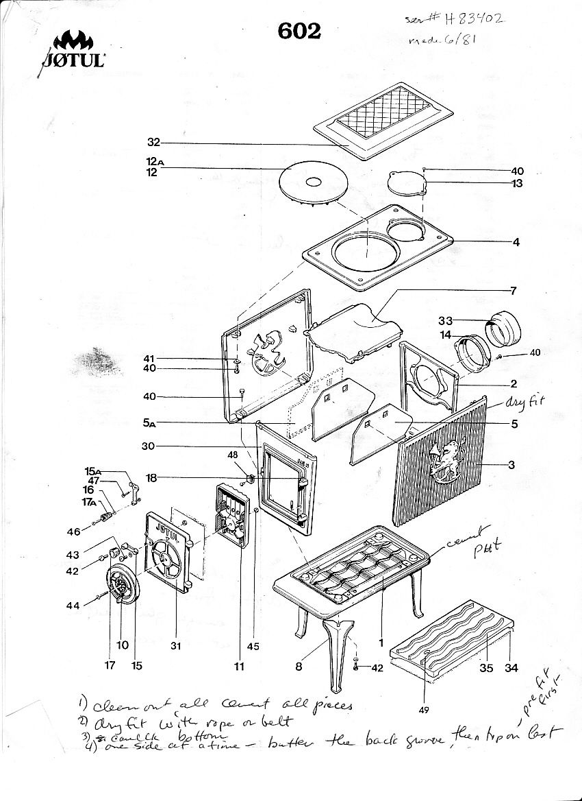 Jotul 602 Exploded Drawing | Cabin | Pinterest | Stove, Fire wood ...