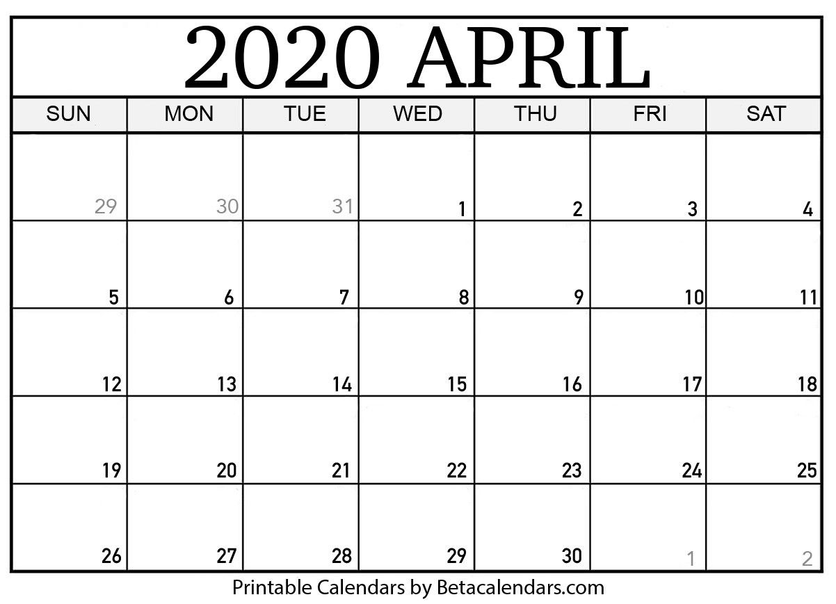 Blank April 2020 Calendar Printable Beta Calendars Blank April 2020 Calendar Printable Beta Calendars Apri In 2020 Calendar Template Calendar Printables Calendar Pages