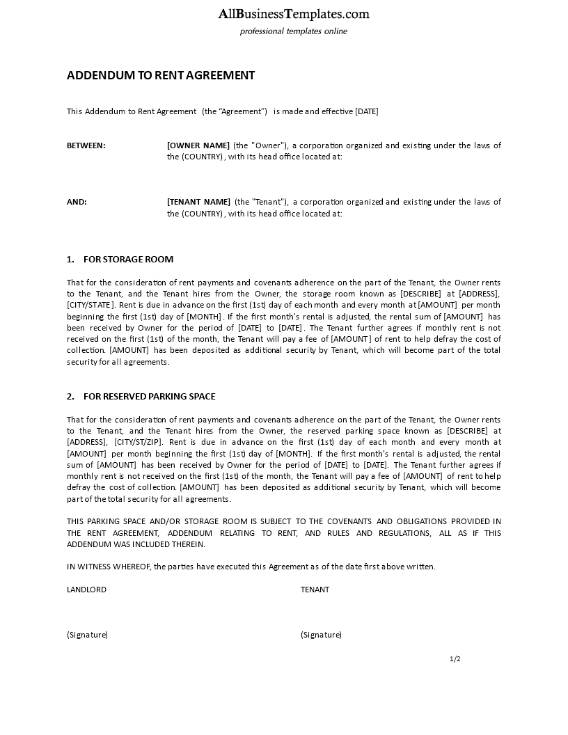 Addendum To Rent Agreement Download This Rental Addendum Agreemement Template And After Downloading You Can Change And Custo Templates Rent Business Template