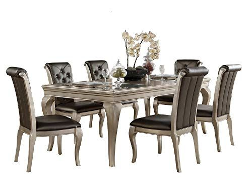 Chable Glam 7PC Dining Set Opaque Glass Table, 6 Chair in Silver