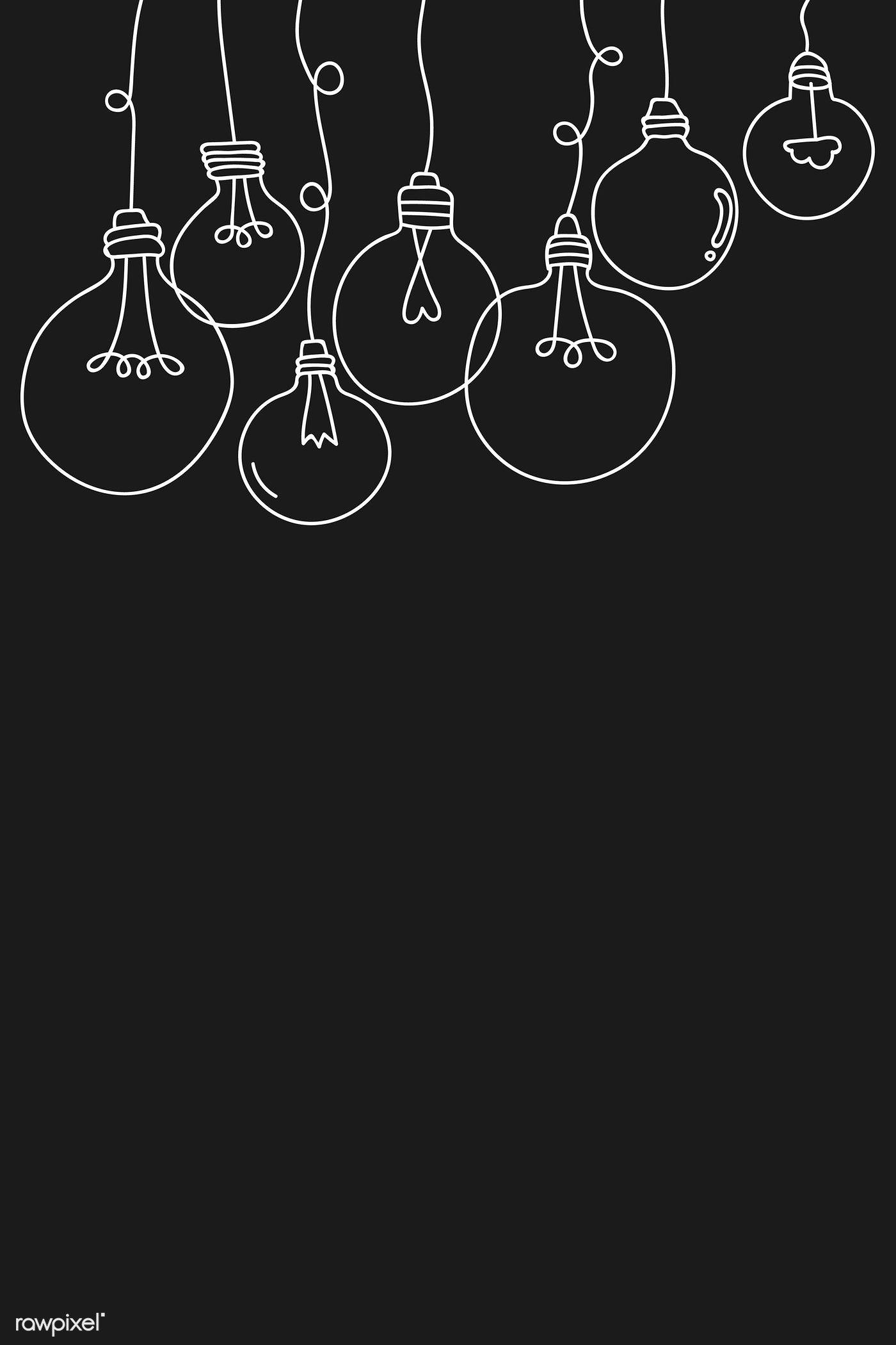 Download premium vector of Creative light bulb doodle on black background