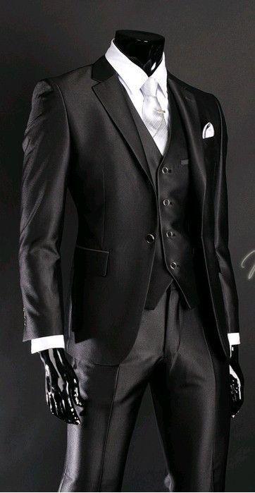 2016 Newest Groom Tuxedo Groomsmen Shiny Black Wedding/Dinner/Evening Suits Best Man Bridegroom (Jacket+Pants+Tie+Vest) B23