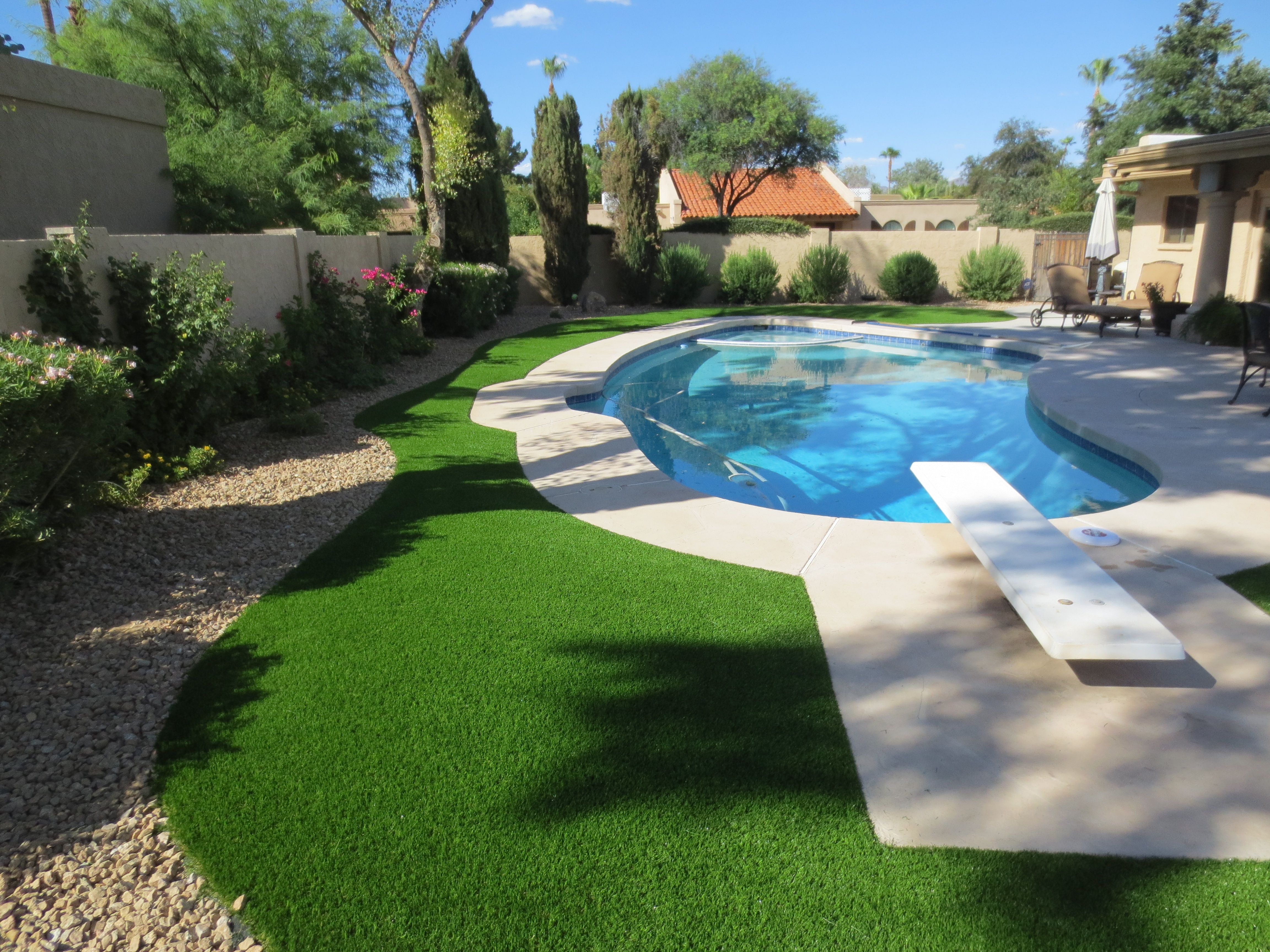 Artificial Grass Next To Your Pool Creates A Backyard Oasis Free Estimate At Paradisegreens Co Backyard Landscaping Artificial Grass Backyard Pool Landscaping