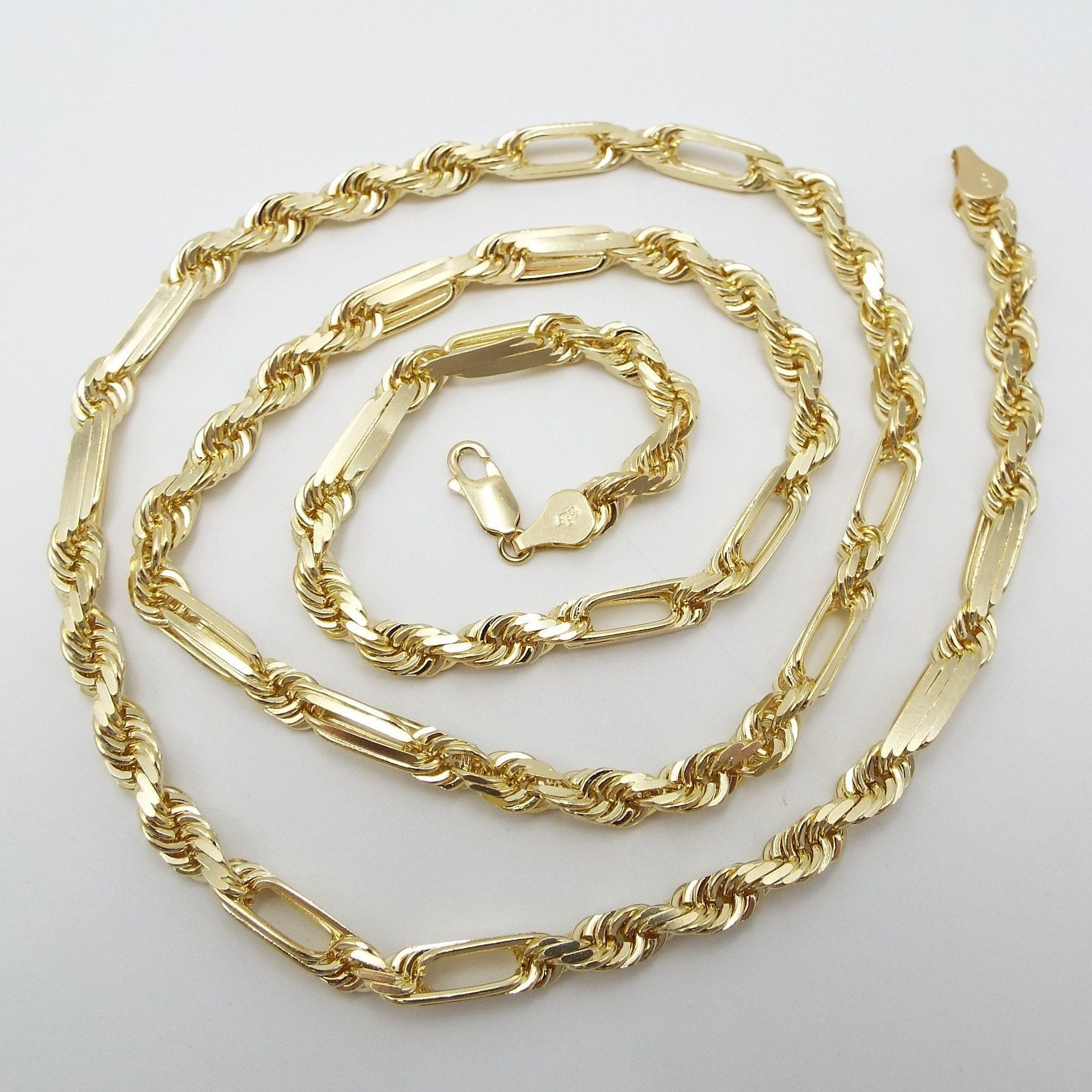 14k Solid Yellow Gold 26 Milano Rope Chain 5mm By Dartamericana On Etsy Gold Yellow Gold Chain
