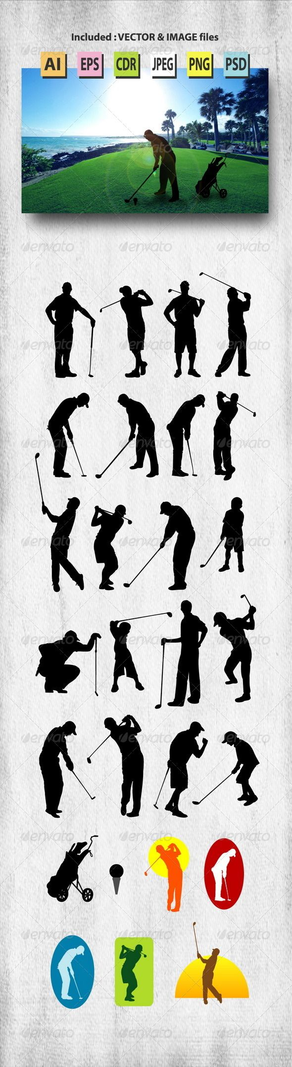 Male Golfer Silhouettes Graphicriver Bubba Keg Pinterest Golf
