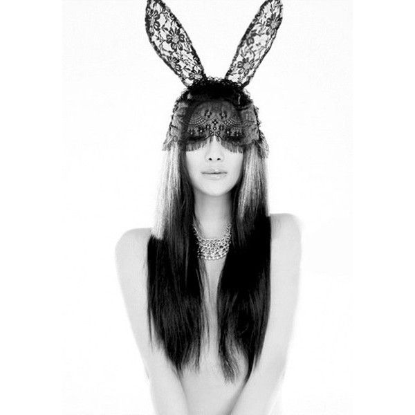 Black Lace Bunny Ears Fascinator ( 11) ❤ liked on Polyvore featuring  accessories bc141d77134