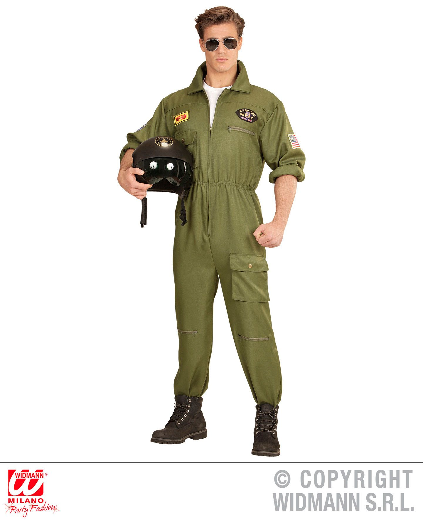 Mens Top Gun Costume Adults 1980s Flighter Pilot Jumpsuit Fancy Dress Outfit 80s