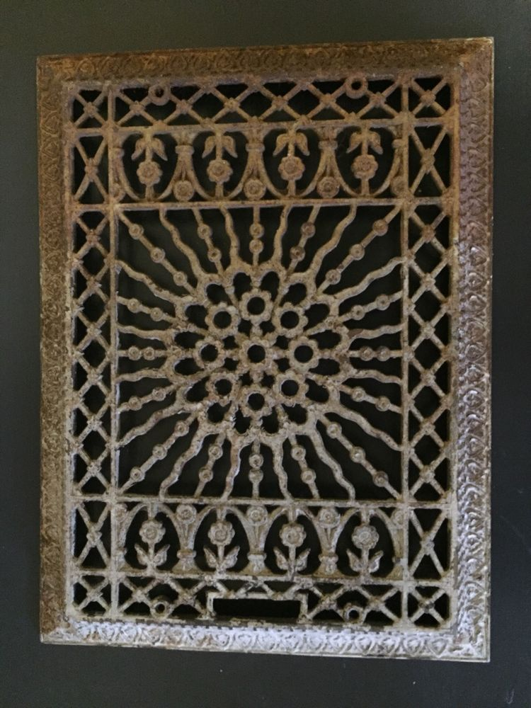 Rectangular Register Cast Iron Floor Grate Heating Vent Floral Design
