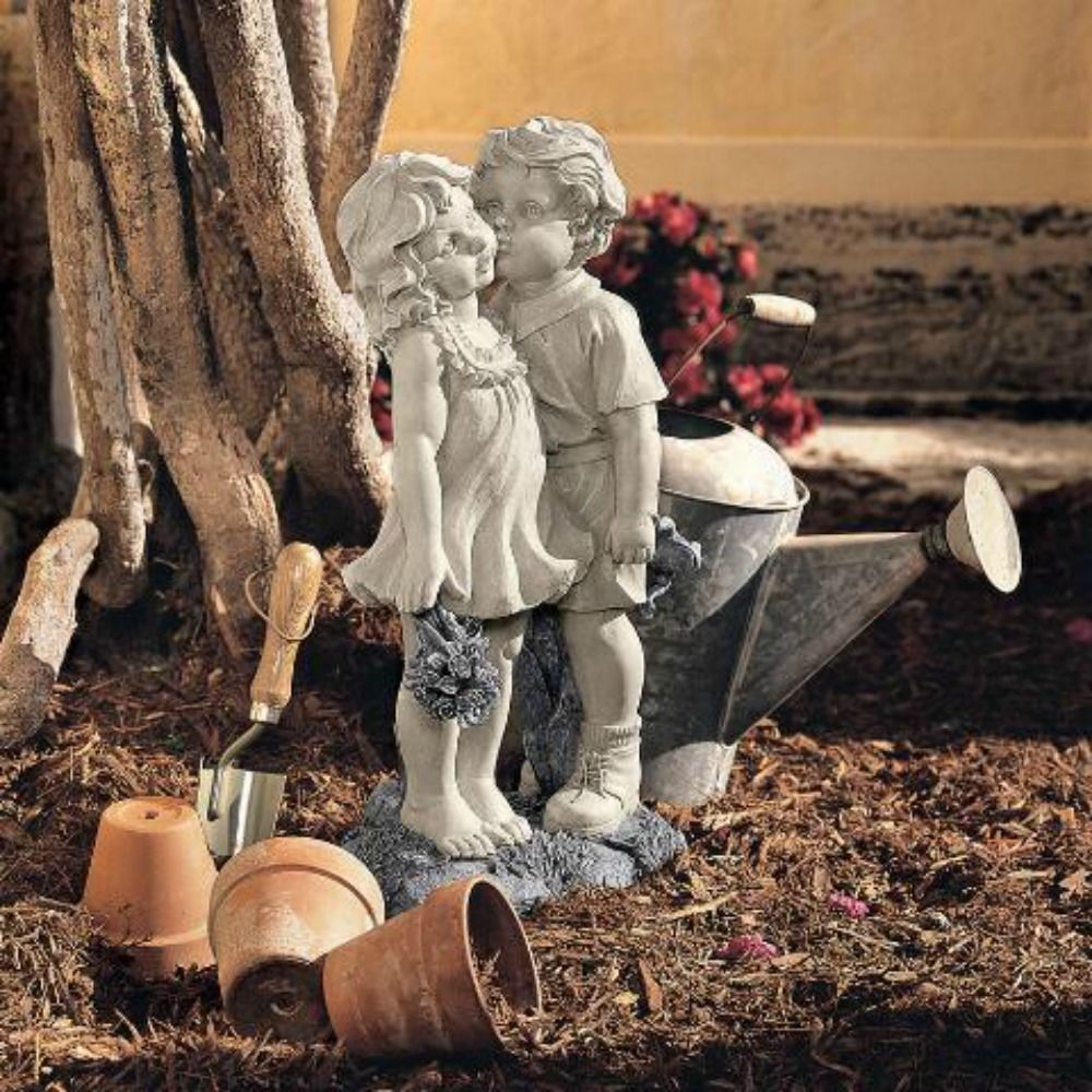 children garden statues. Young Sweethearts Outdoor Kissing Boy Girl Children Garden Statue Yard Love Art Statues