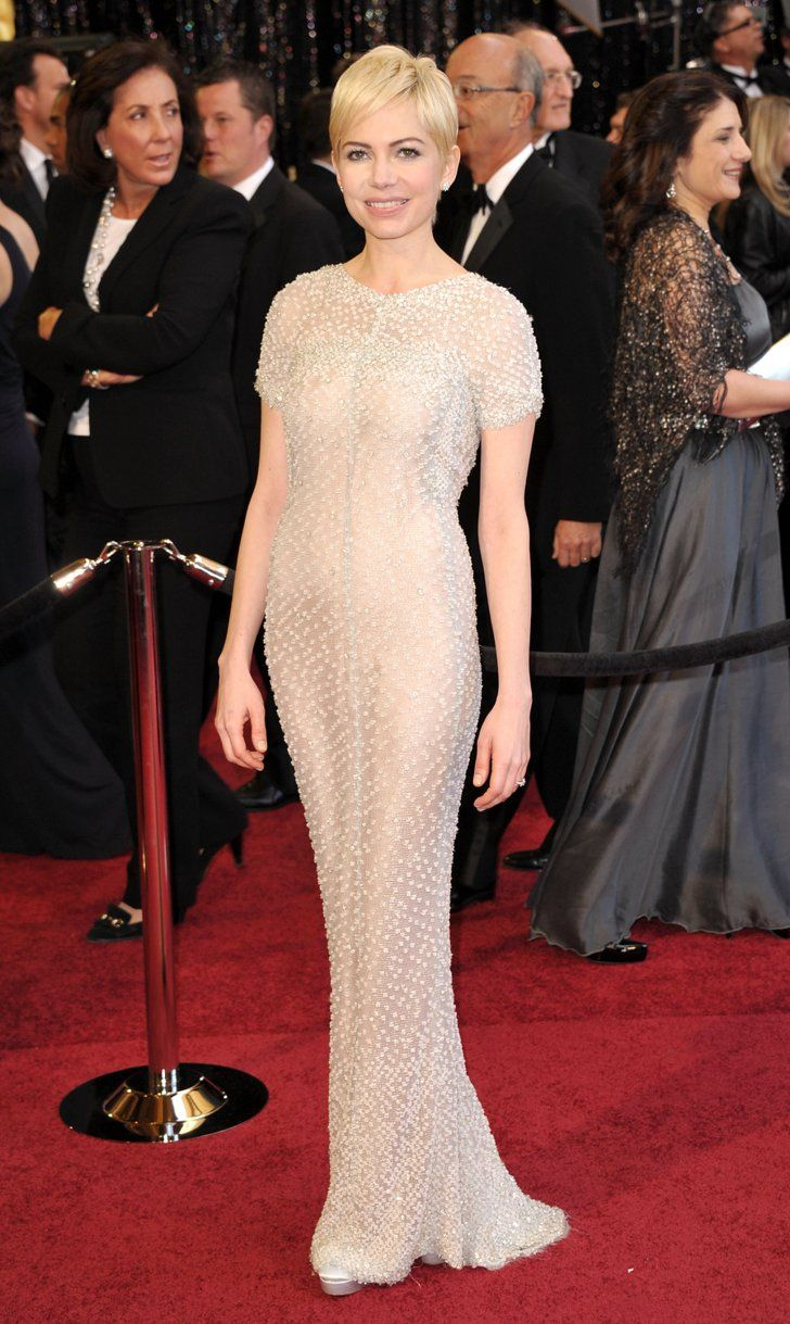 Pin for Later: 85 Unforgettable Looks From the Oscars Red Carpet Michelle Williams at the 2011 Academy Awards Michelle Williams continued her flawless award season streak in a white beaded Chanel Haute Couture gown in 2011.