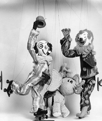 """Three marionettes used in a production of """"Pinocchio"""" at the Geary Theater 1965"""