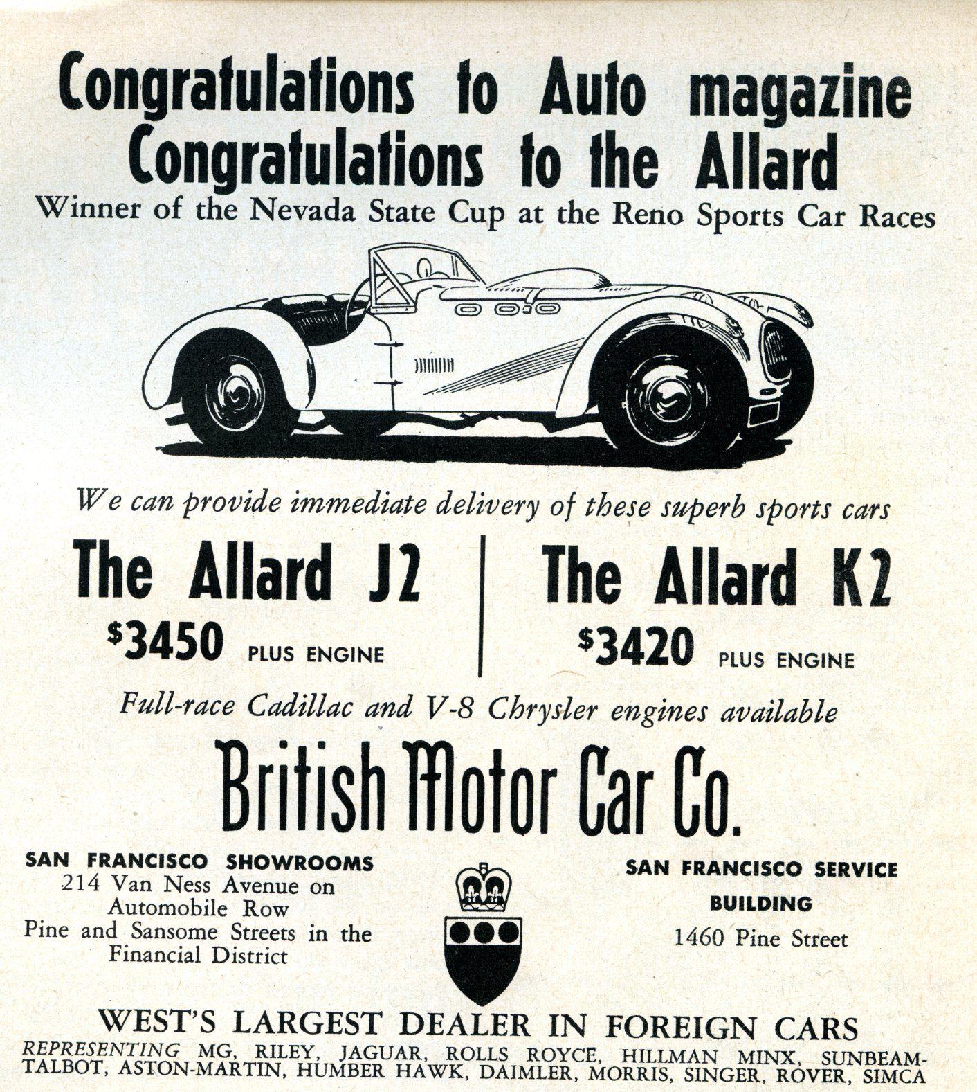Pin by Vogel Marketing Solutions LLC on Allard Motor Co. Car Ads ...