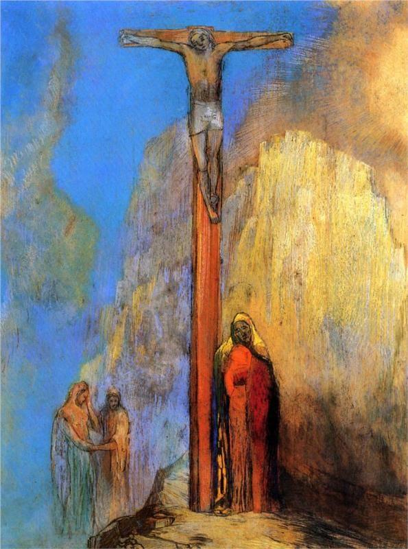 Odilon Redon (French: 1840–1916), [Post-impressionism, Symbolism] Calvary, 1897.
