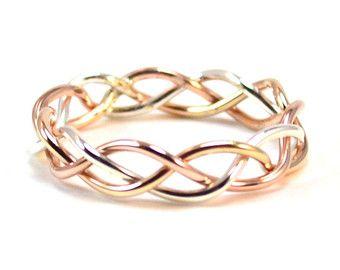 Tri Color Gevlochten Ring Alternatieve Trouwring Goud