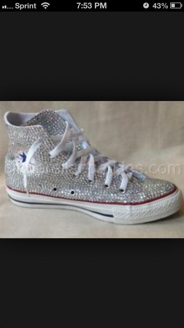Bedazzled converse to wear under my dress  aaca17c07e