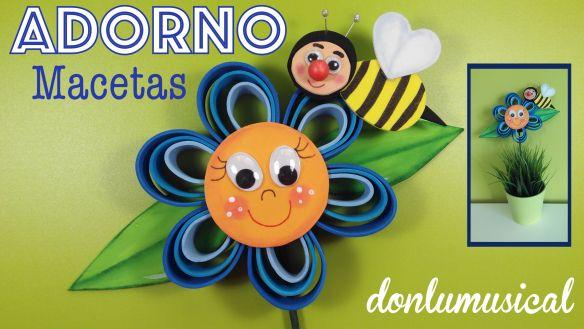 flores goma eva foamy macetas abeja avispa