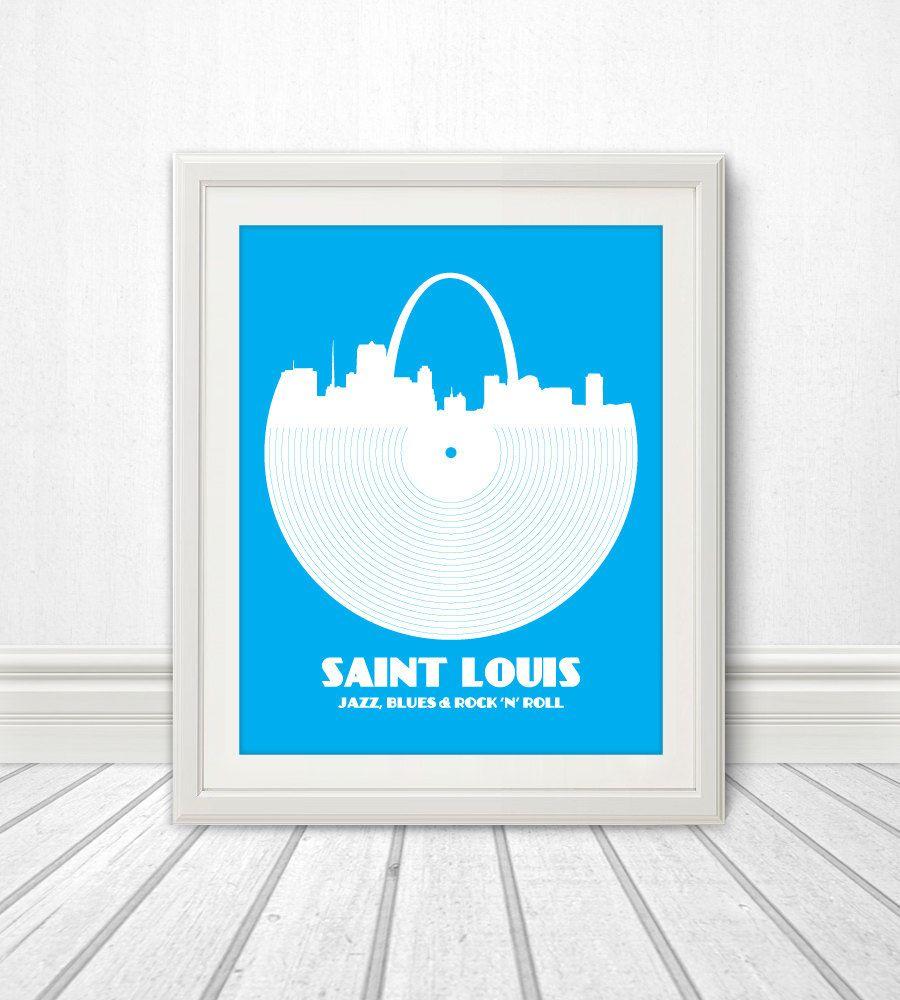 Saint Louis, Jazz, Blues and Rock \'n\' Roll, Print, St Louis, St ...