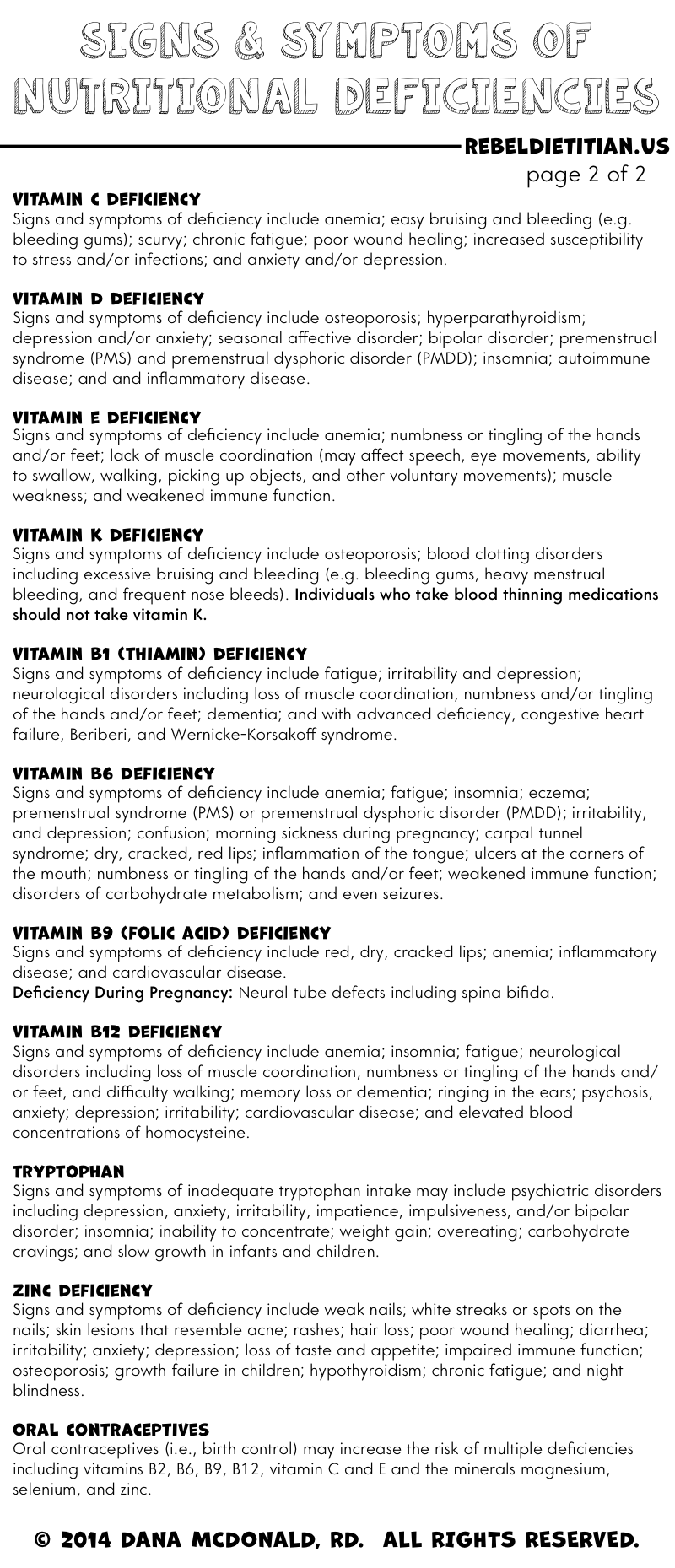 Signs and Symptoms of Vitamin and Mineral Deficiencies (page 2 of ...