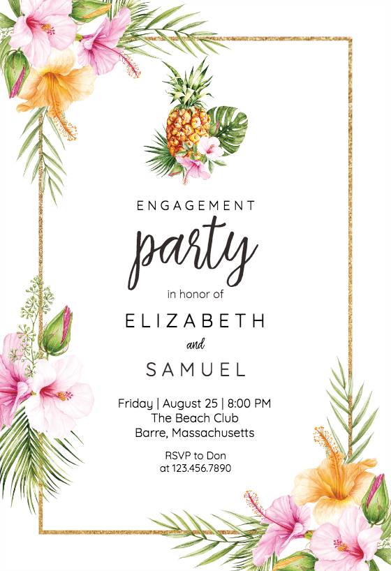 Tropical Pineapple Engagement Party Invitation Template Greetings Island Engagement Party Invitations Wedding Party Invites Engagement Party